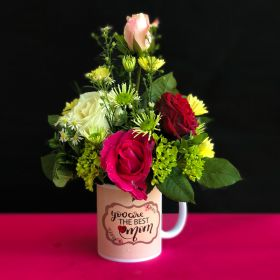 Best MOM Mug With Mix Color Roses