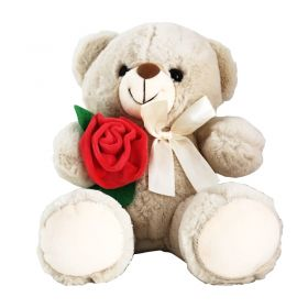 Butter Colour  Teddy With Roses (14 inches)