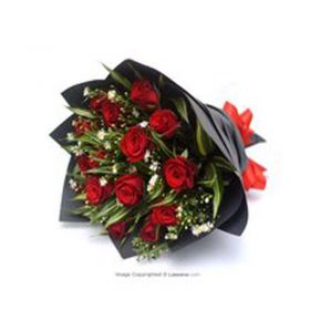 15 VELVETY RED ROSES BOUQUET