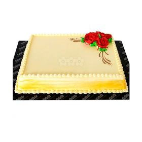 Decorated Ribbon Cake With Red Roses 2Kg