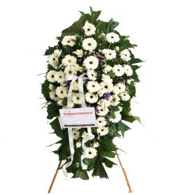 White Gebera and Roses Mix Wreath